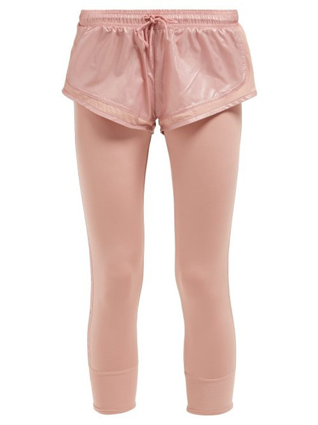 Adidas By Stella Mccartney - Logo Print Leggings With Shorts - Womens - Light Pink