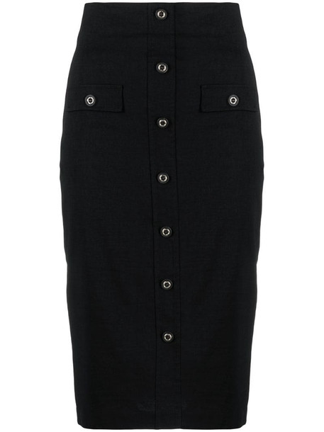 Pinko button-down pencil skirt in black