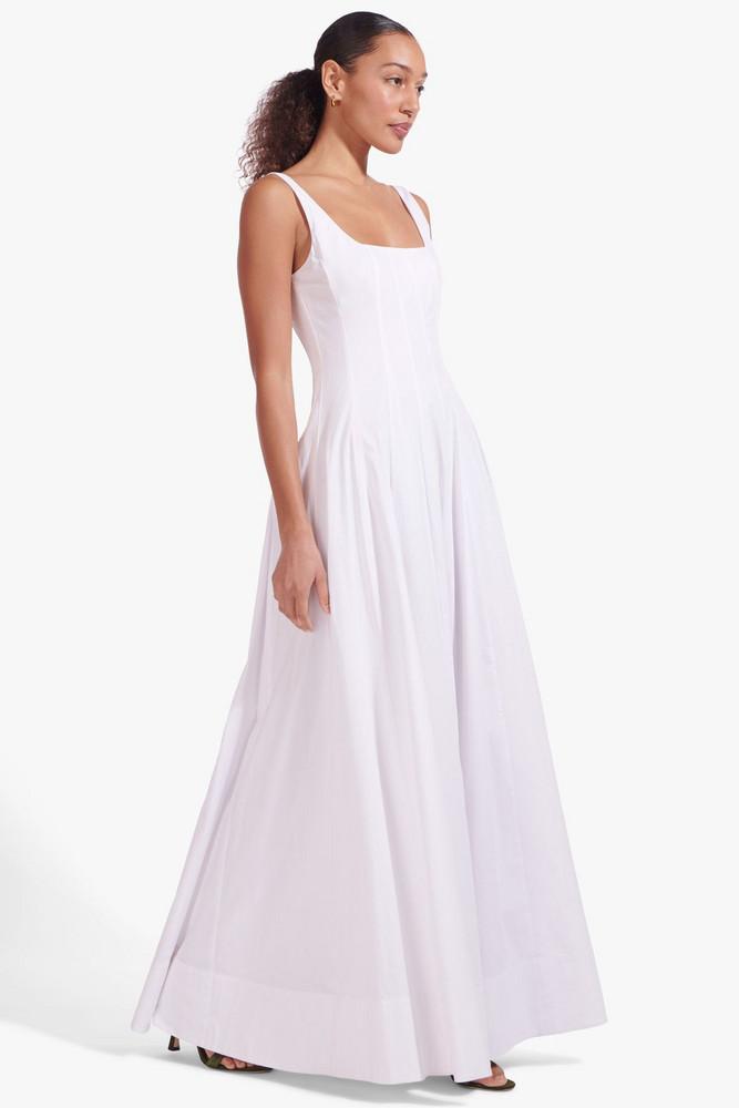 Staud WELLS MAXI DRESS   WHITE