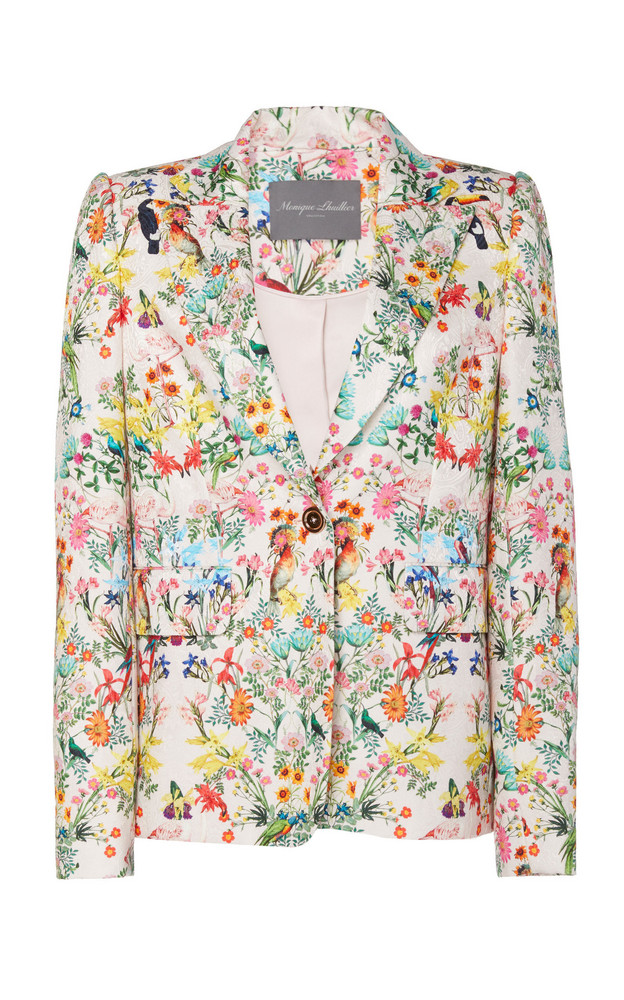 Monique Lhuillier Paradise Printed Jacquard Fitted Blazer in multi