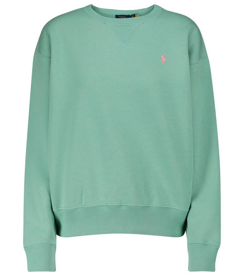 Polo Ralph Lauren Logo cotton-blend jersey sweatshirt in green