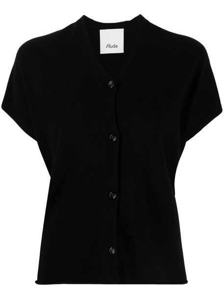 Allude short-sleeve relaxed cardigan in black