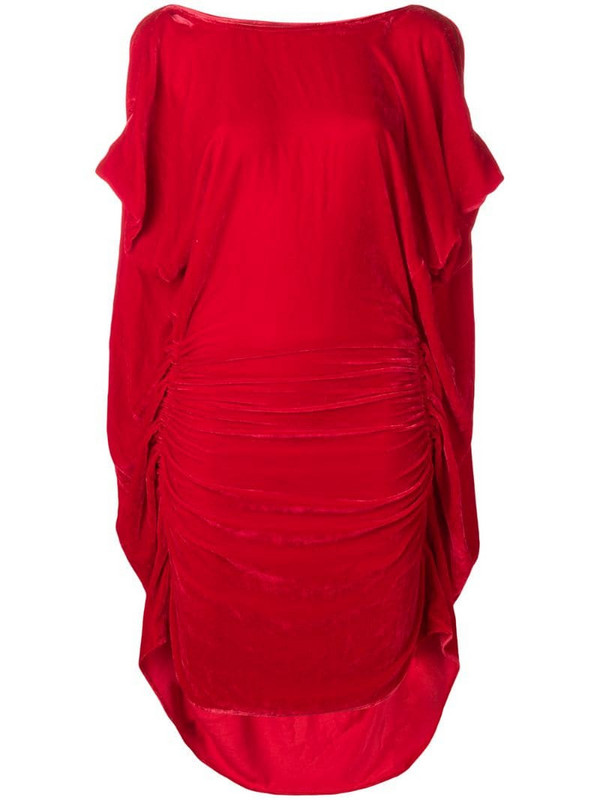 Paula Knorr ruched midi dress in red