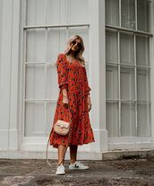 dress,floral dress,red dress,long sleeve dress,zara,white sneakers,bag,midi dress