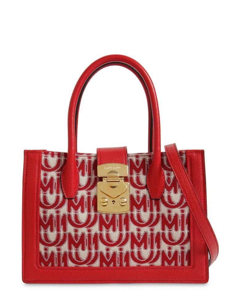MIU MIU Mini Logo Jacquard Tote Bag in red