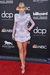 dress,lilac,lilac dress,taylor swift,celebrity,red carpet dress,ruffle,ruffle dress,sandal heels,mini dress,billboard music awards