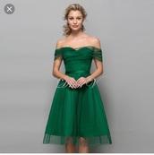 dress,green,polka dots dress,knee length dress,knee length,dark green dress