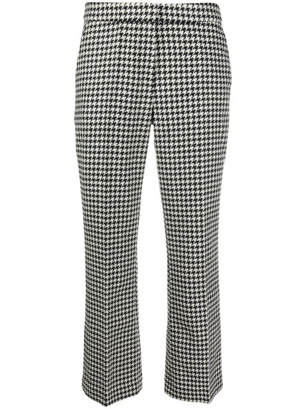 Semicouture cropped kick-flare houndstooth trousers in black