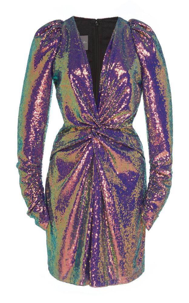 Monique Lhuillier V-Neck Mini Dress in metallic