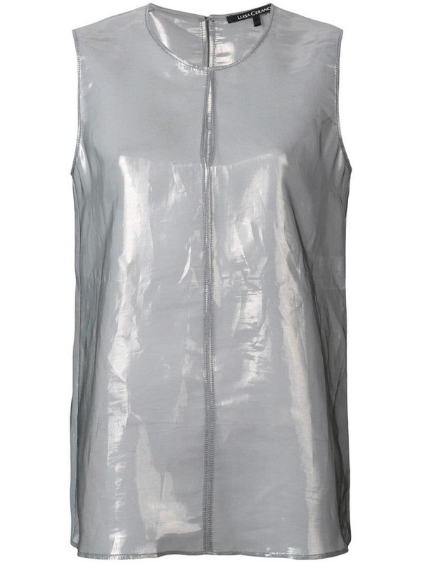 Luisa Cerano metallic sleeveless blouse in grey