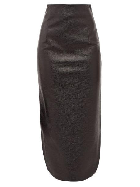 A.w.a.k.e. Mode - High Rise Vinyl Midi Skirt - Womens - Black