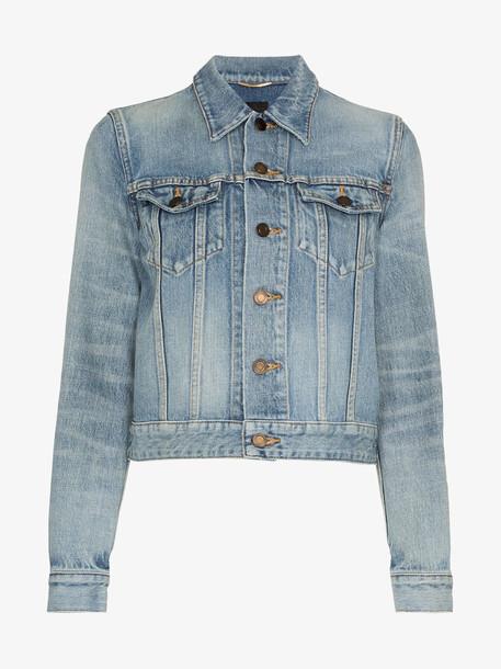 Saint Laurent button up cropped denim jacket