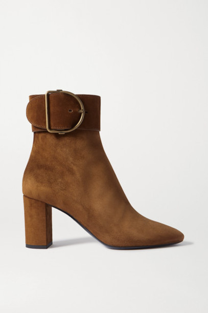 SAINT LAURENT - Charlie Buckled Suede Ankle Boots - Brown