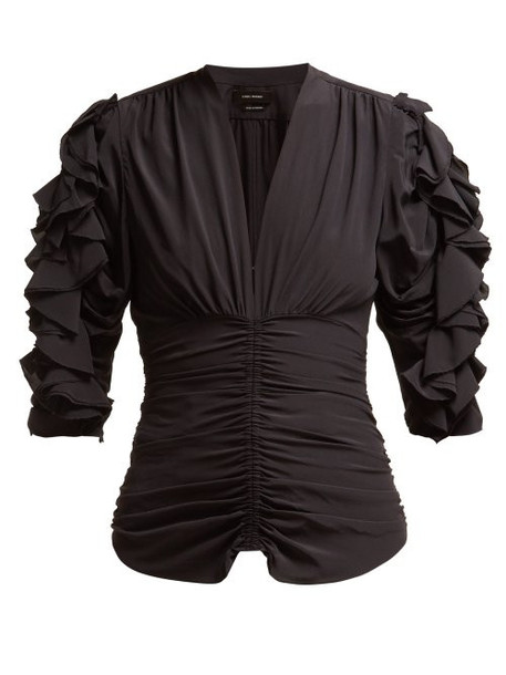 Isabel Marant - Andora Ruffled Silk Blend Top - Womens - Black