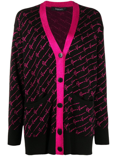 Versace intarsia-logo cardi-coat in black