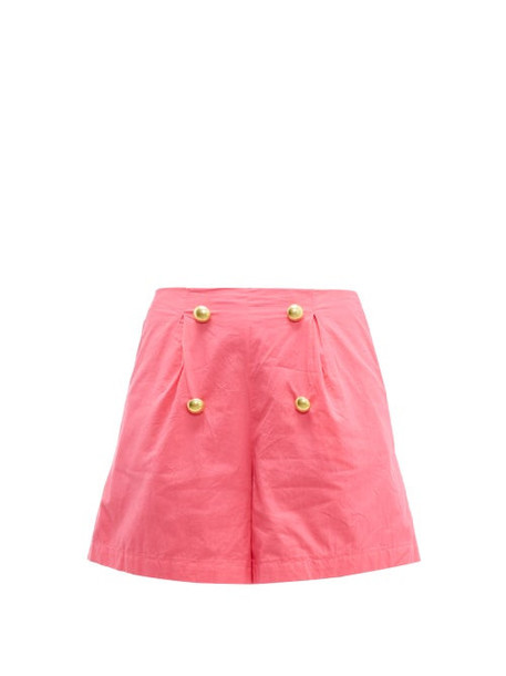 Rhode - Reese High Rise Cotton Voile Shorts - Womens - Pink