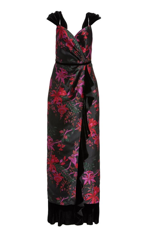 Markarian Exclusive Velvet-Trimmed Silk-Blend Brocade Gown in black