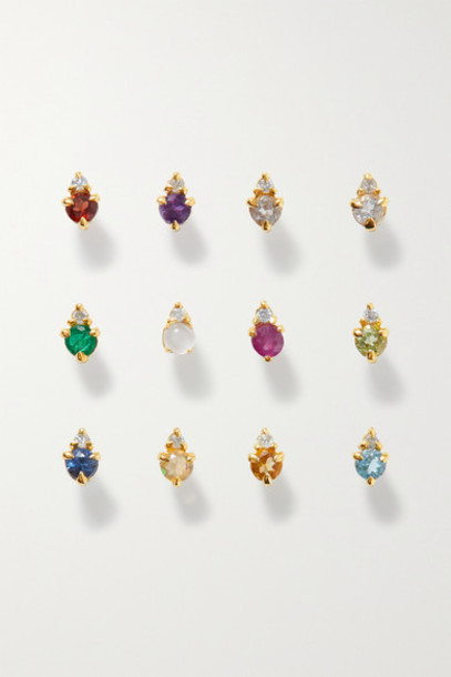 STONE AND STRAND - Birthstone Gold Multi-stone Earring