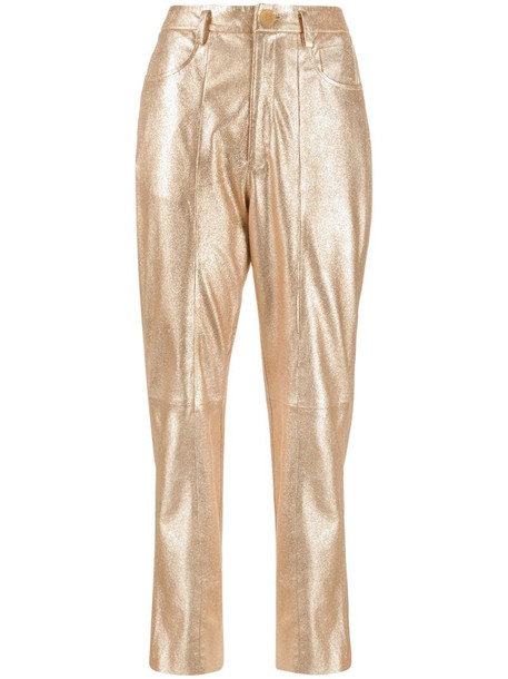 Forte Forte metallic-tone cropped leather trousers in gold