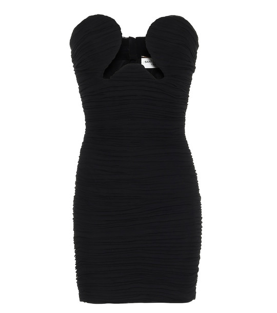 Saint Laurent Cut-out crêpe-georgette strapless minidress in black