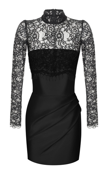 Rasario Silk And Lace Corset Mini Dress in black