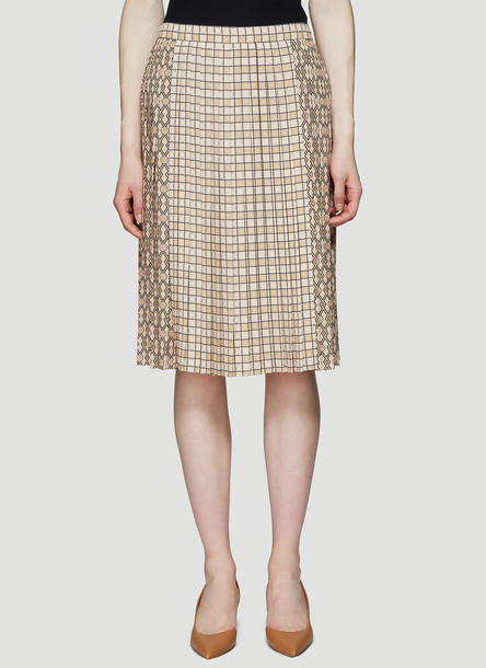Burberry Multi Check Pleated Skirt in Beige size UK - 10