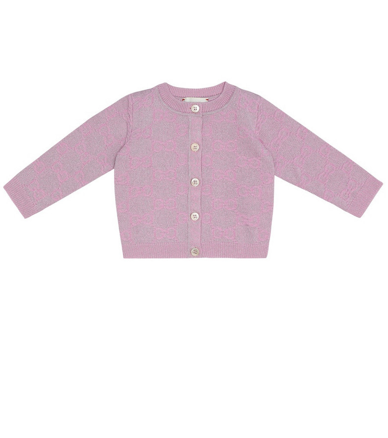 Gucci Kids Baby GG wool-blend cardigan in pink