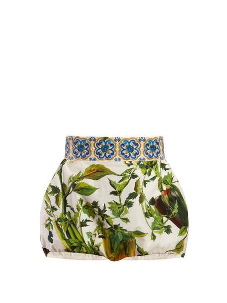 Dolce & Gabbana - Majolica And Pepper Print Poplin Shorts - Womens - White Multi
