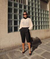 sweater,black pants,cropped pants,black sandals,black turtleneck top