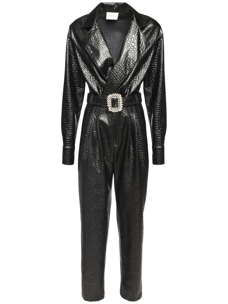 GIUSEPPE DI MORABITO Croc Embossed Faux Leather Jumpsuit in black