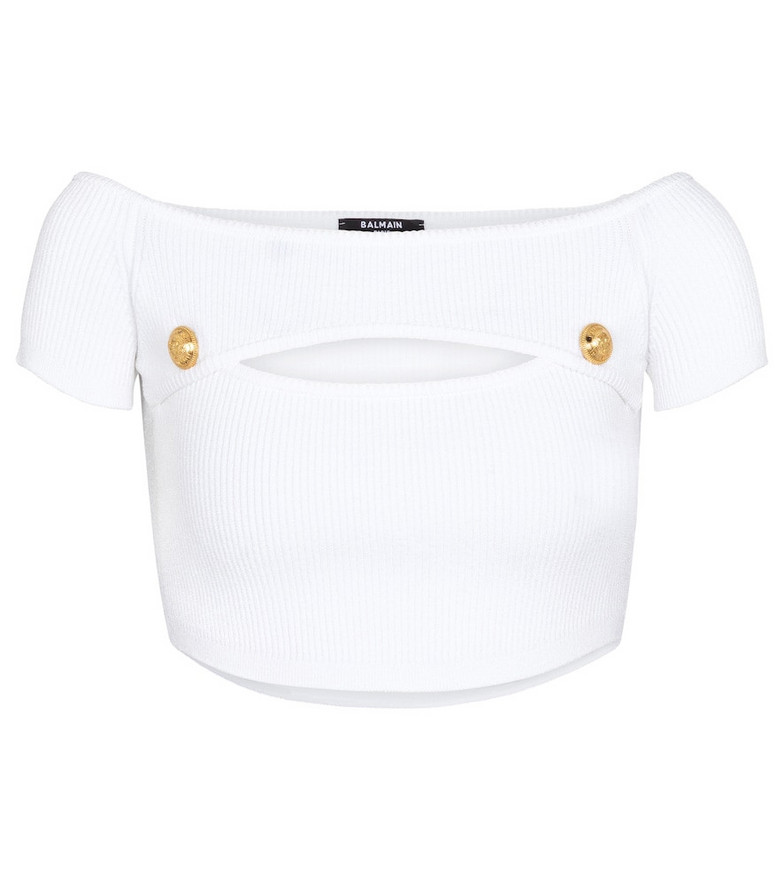 Balmain Cutout ribbed-knit crop top in white