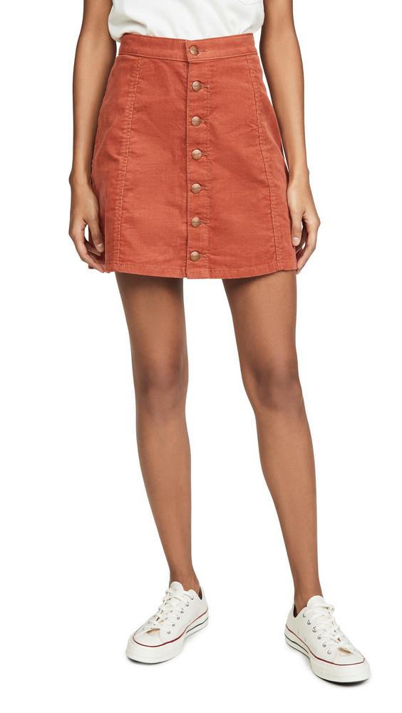 Wrangler Button Front Miniskirt in brick