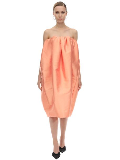 MARQUES'ALMEIDA Pleated Tube Midi Dress in orange / pink