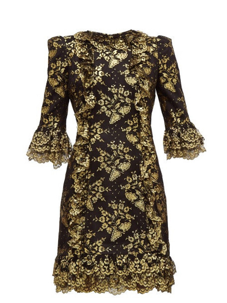 The Vampire's Wife - Cate Metallic Fil Coupé Silk And Lace Mini Dress - Womens - Black Gold