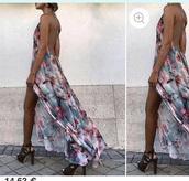 dress,floral backless,dos nu