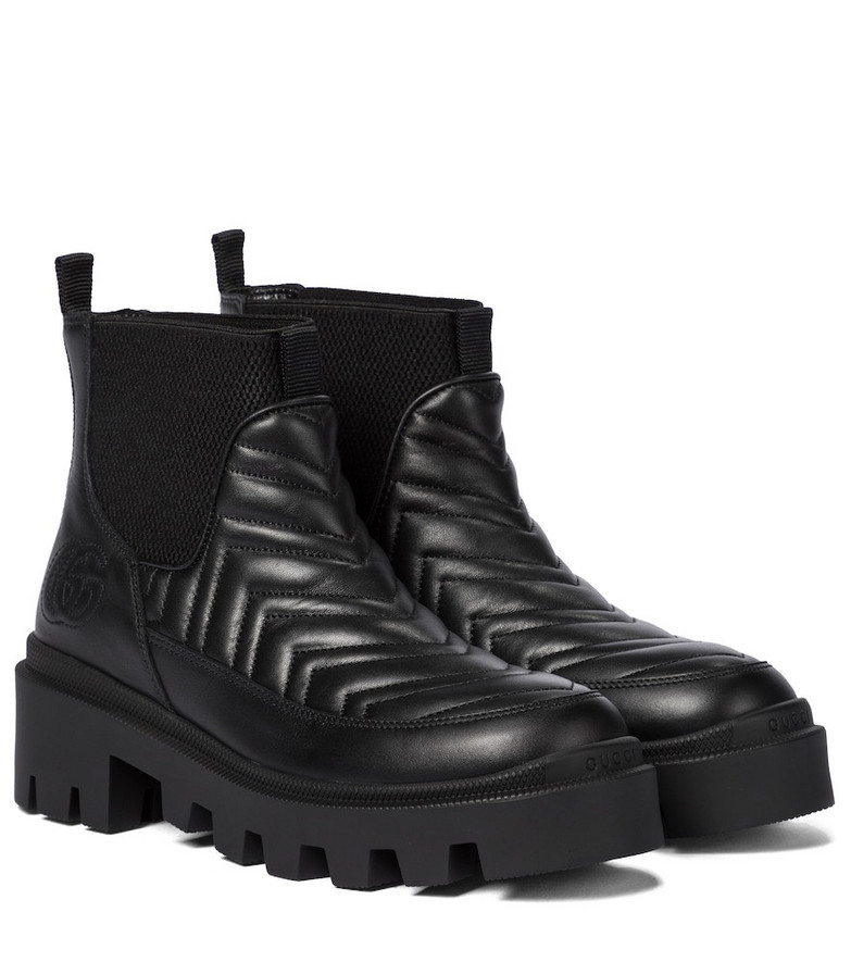 Gucci Quilted leather platform ankle boots in black