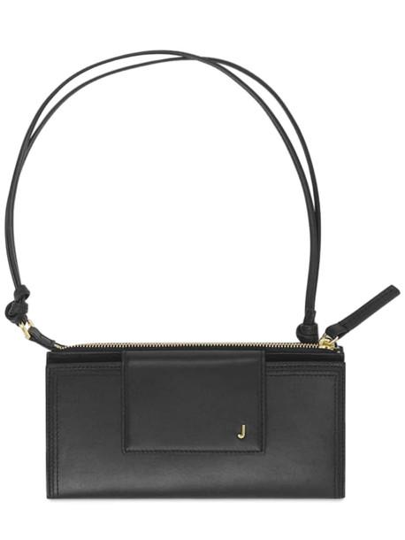 JACQUEMUS Le Pichoto Zip-up Leather Shoulder Bag in black