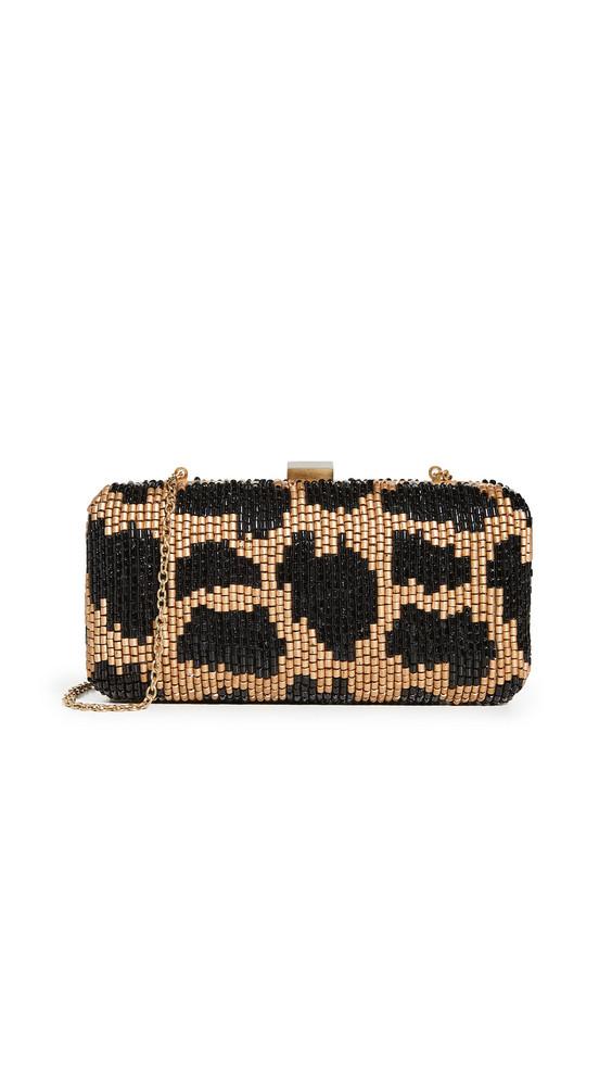 Santi Leopard Beaded Clutch in black / gold