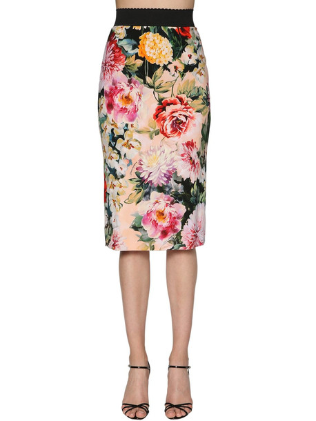 DOLCE & GABBANA Floral Print Stretch Cady Pencil Skirt