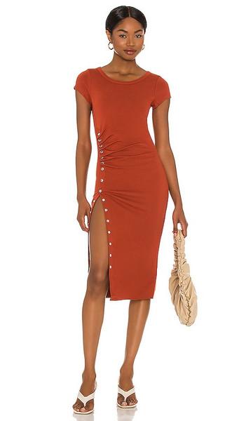 ALLSAINTS Hatti Tee Dress in Rust in red
