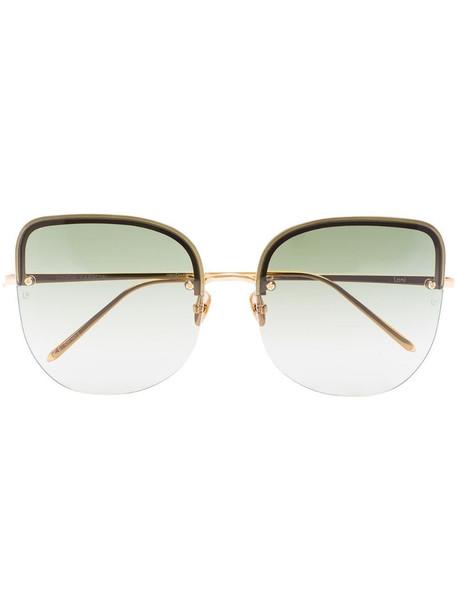 Linda Farrow 18kt gold-plated Loni sunglasses in green