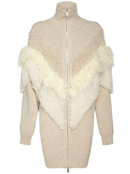 STELLA MCCARTNEY Faux Fur Wool Knit Zip-up Coat in ivory / beige