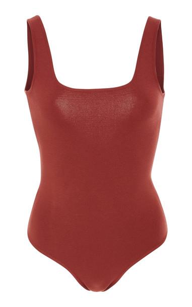 Zeynep Arçay Square Neck Knit Bodysuit Size: 4-6 in red