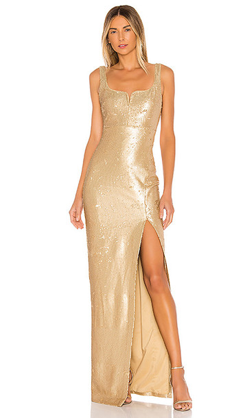 LIKELY Mineo Gown in Metallic Gold