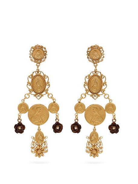 Dolce & Gabbana - Charm Drop Clip Earrings - Womens - Gold