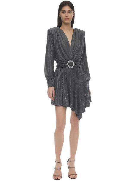 PHILIPP PLEIN Crystal Embellished Jersey Mini Dress in silver