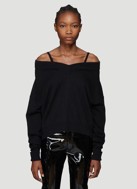 Maison Margiela Fine Knit V-Neck Sweater in Black size S
