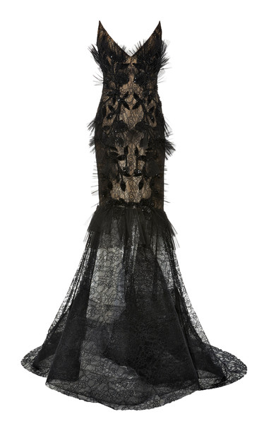 Pamella Roland Strapless Chantilly Lace Dress Size: 2 in black
