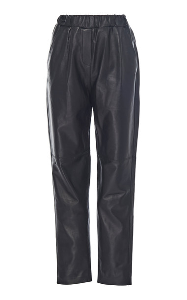 Leal Daccarett Cocoa Fitted Leather Pants in black