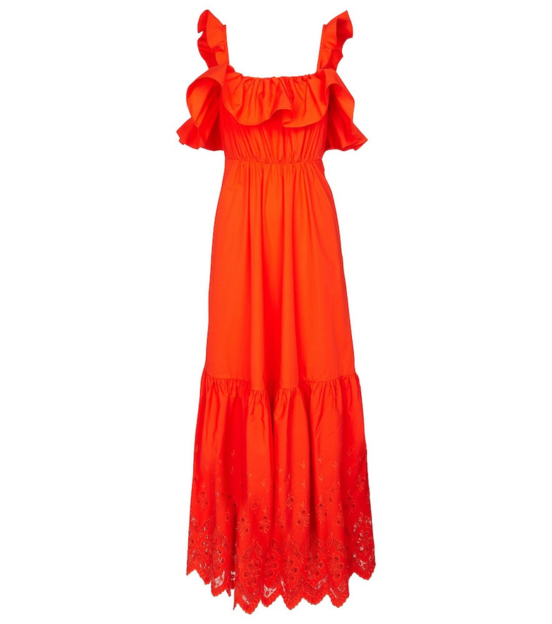 Self-Portrait Cotton broderie anglaise maxi dress in orange